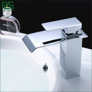 FLG Waterfall Bathroom Faucet Chrome Cast Bath Tap Cold Hot Deck Mounted Square Vessel Faucet Sink Wash Basin faucet