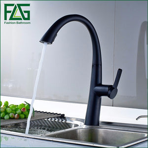 FLG Bronze Black Kitchen Faucet Swivel Spout Sink Tap Deck Mounted Brass Pull Out Kitchen Faucet Mixer Tap