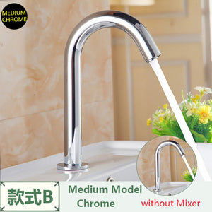 FLG Basin Faucet Chrome Faucet Ceramic Plate Spool Water Saving Battery Power Automatic infrared sensor faucet