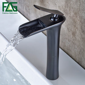 Classic Black Oil Rubbed Bronze Tall Waterfall Basin Faucet, Bathroom Ware Black Bathroom Faucet Basin Tap