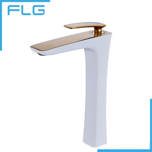 Free Shipping Soild Brass White Painting and Gold Bathroom Faucet Washbasin Taucets Tall Tap, grifo lavabo alto