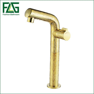 Luxury Gold Plating Carving Flower  Brass Single Handle Wsh Basin Faucet Bathroom Mixer Sink Tap  Rubinetto Del Bacino