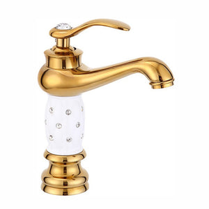 Free Shipping  Brass with Diamond/crystal body tap New Luxury Single Handle hot and cold tap bathroom basin gold faucet
