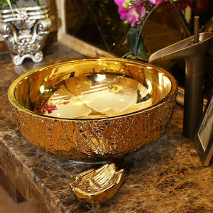 Gold Artistic Procelain Europe Vintage Style Art wash basin Ceramic Counter Top Wash Basin Bathroom Sinks small vessel sinks