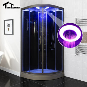 90cm balck Steam Shower massage Corner Cabin room Cabin hydro cubicle Enclosure glass walking-in sauna D09 UK Shipping