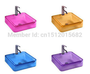 All NEW Colored Resin Acrylic HAND WASH BASIN Cloakroom Vanity Sink COUNTER TOP Square Vessel Sink 2018