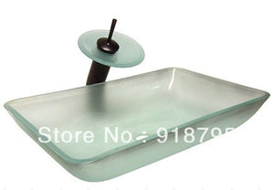 Tempered Glass Rectangular Handcraft Bathroom Vanity Vessel Sink Popular Europe Counter Top Wash Basin JN008