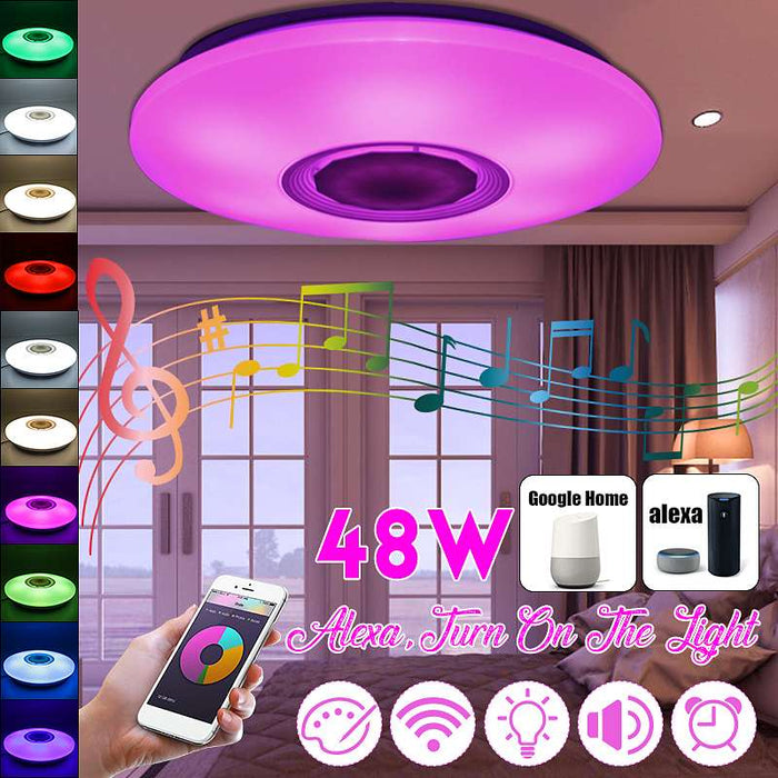 48W 36 LED RGB bluetooth LED Music Ceiling Lights APP Remote Control Acrylic Dimming LED Lamp AC110-260V 24W LED Fixtures