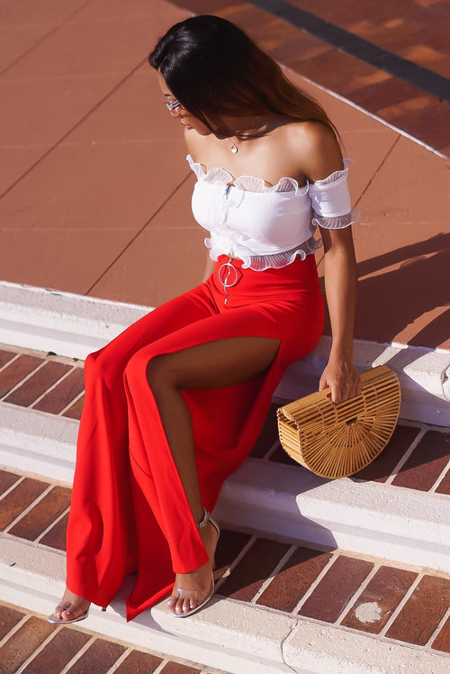 'Heat Wave' Red Slit Pants