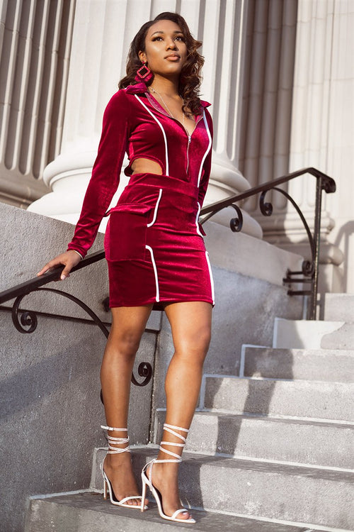 Red Velvet Line Dress with side cut outs and zipper front