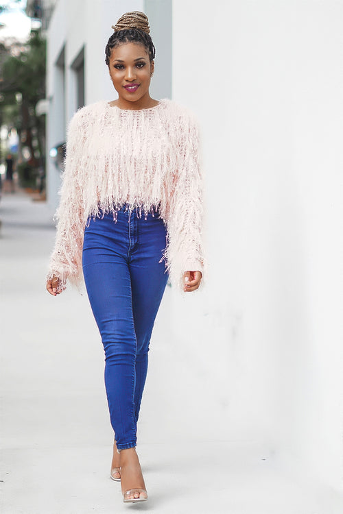 'Shimmer' Pink Sequin Fur Top