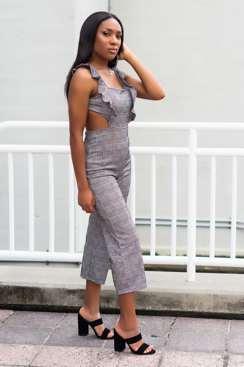 'Reign' Gray Plaid Jumpsuit