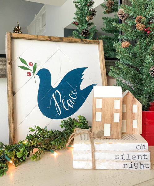 "Blue Peace Dove with Barn wood Trim 16""x16"""