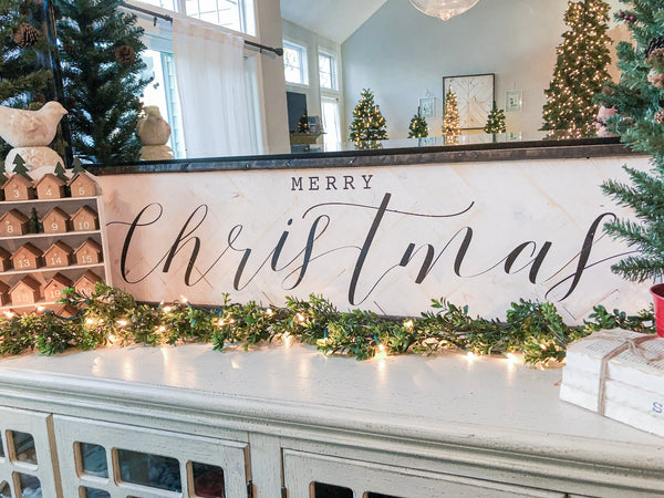 "Merry Christmas with Black Trim 12""x48"""