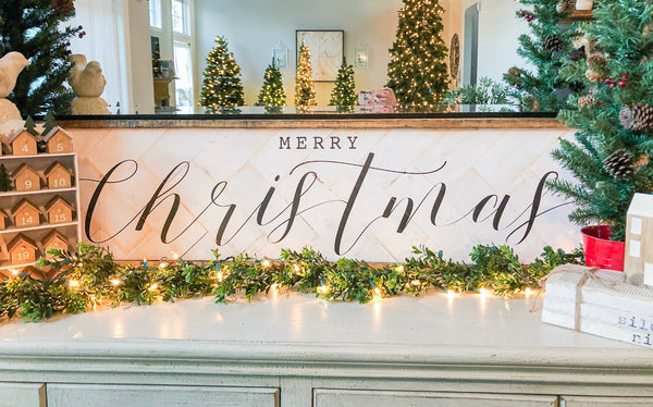"Merry Christmas with Barn Wood Trim 12""x48"""