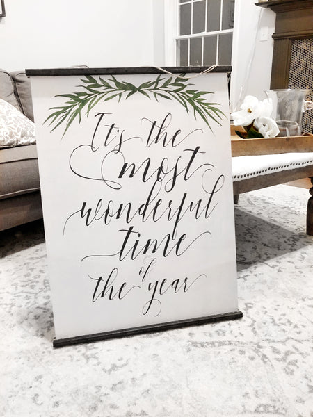 "Oversized  ""It's The Most Wonderful Time"" Wooden Scroll"