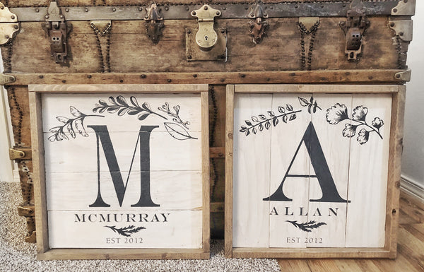 Boho Style Monogram | Magnolia White & Drift Wood