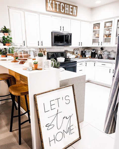 24x 32 Let's Stay Home Herringbone Sign