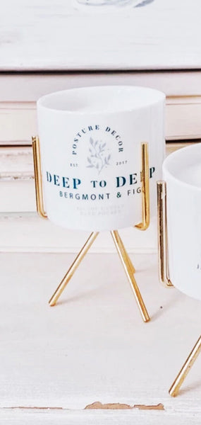 DEEP TO DEEP - Bergamot & Fig | Candle & Gold Stand