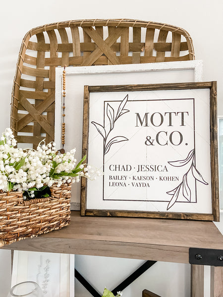 Last Name & Co 16x16 Herringbone Sign