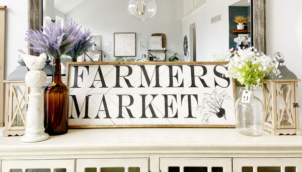 Farmers Market Herringbone 17x48 Sign
