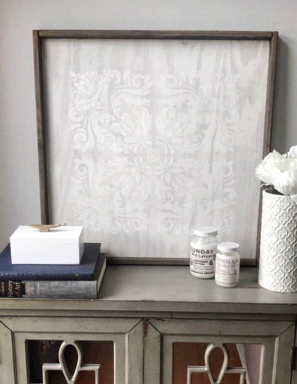 Magnolia White & Barn Wood | Damask Pattern