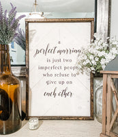 A Perfect Marriage 16x24 Herringbone Sign