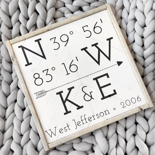 Customized Longitude & Latitude Sign w/Initials