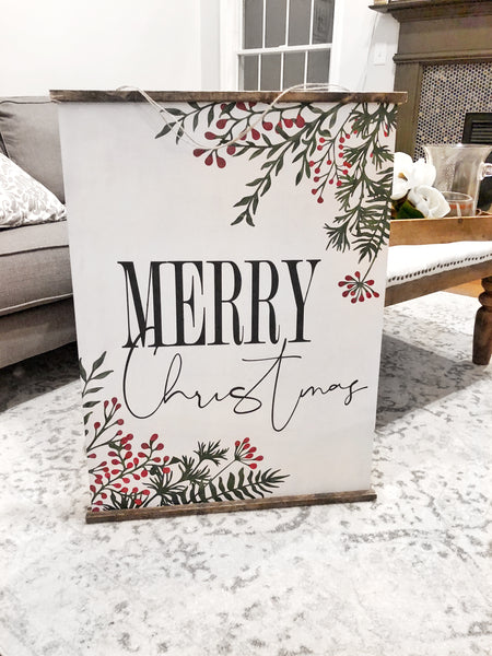 Oversized Merry Christmas Wooden Scroll