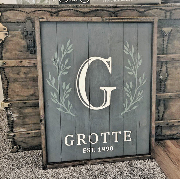 Rustic Grey Shiplap | Customizable Family Name Sign