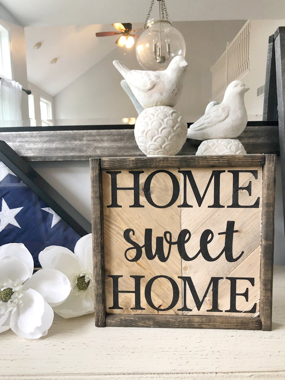 "Neutral Herringbone ""Home Sweet Home"" 10x10 sign"