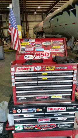 Hot Rod fuel hose on a toolbox with other Decals