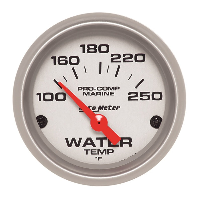 Autometer Water Temp Gauge 2 1/6in 100-200 Degree F Electric Marine Silver