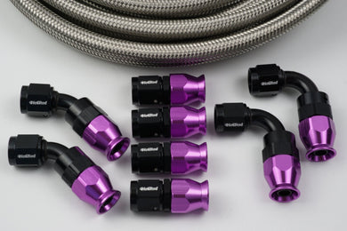 AN-10 Stainless Braided Hose & 8 10AN fittings bundle - Hot Rod fuel hose by One Guy Garage
