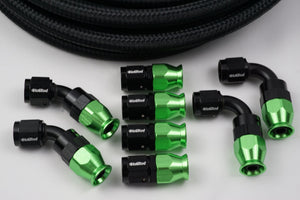 AN-6 Nylon Braided choose your color and 8 Fittings Bundle Deal - Hot Rod fuel hose by One Guy Garage