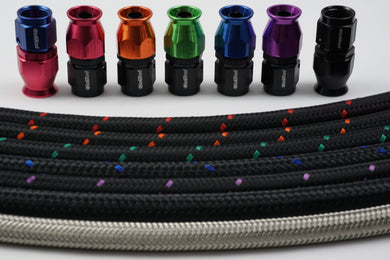 AN-8 Nylon Braided & 8 Fittings Bundle Deal - Choose your color - Hot Rod fuel hose by One Guy Garage