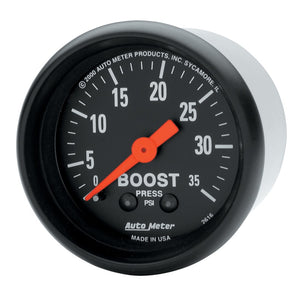 Autometer Z Series 52mm 0-35 PSI Mechanical Boost Gauge