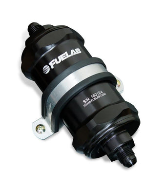 Fuelab 848 In-Line Fuel Filter Standard -8AN In/Out 6 Micron Fiberglass w/Check Valve - Black - Hot Rod fuel hose by One Guy Garage