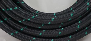 green and black PTFE AN hose by hot rod fuel hose