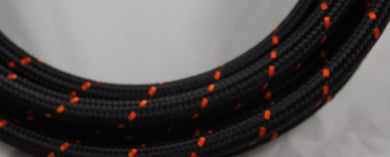 PTFE lined Black Nylon with Orange Checks braided hose - AN6, AN8, AN10 - Hot Rod fuel hose by One Guy Garage