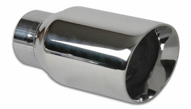 Vibrant 3in Round SS Exhaust Tip (Double Wall Angle Cut Beveled Outlet) - Hot Rod fuel hose by One Guy Garage