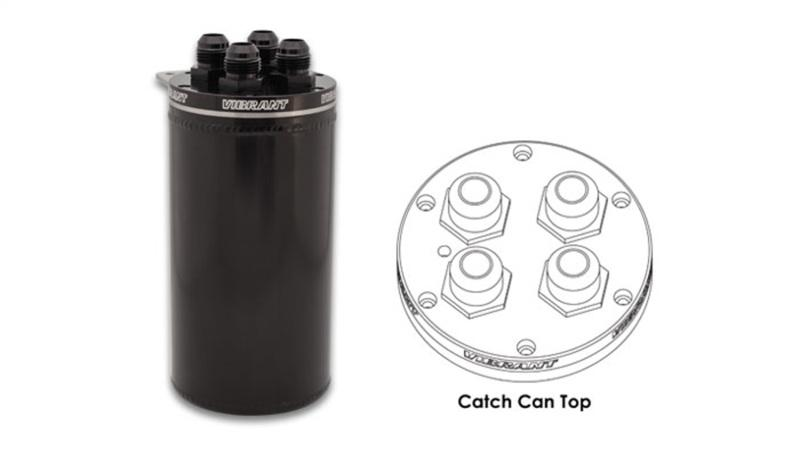Vibrant 4in OD Universal Catch Can 2.0 w/ 4 Adapters Aluminum - Anodized Black - Hot Rod fuel hose by One Guy Garage