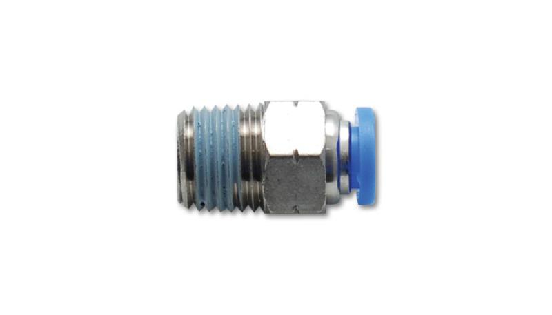 Vibrant Male Straight Pneumatic Vacuum Fitting 1/4in NPT Thread for use with 3/8in 9.5mm OD tubing - Hot Rod fuel hose by One Guy Garage