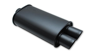 Vibrant StreetPower FLAT BLACK Oval Muffler with Dual 3in Outlet - 3in inlet I.D. - Hot Rod fuel hose by One Guy Garage
