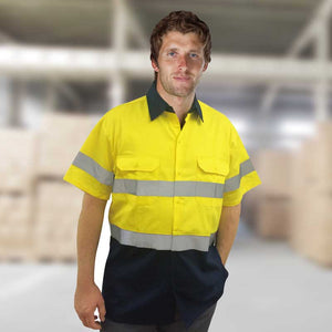 HI-VIS COTTON DRILL S/S REFLECTIVE TAPE SHIRT