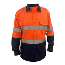 HI-VIS COTTON DRILL L/S REFLECTIVE TAPE SHIRT