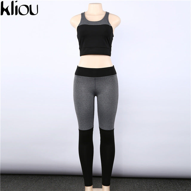Women 2 Piece Tracksuit Set:  High Waist Leggings And Bra Suit