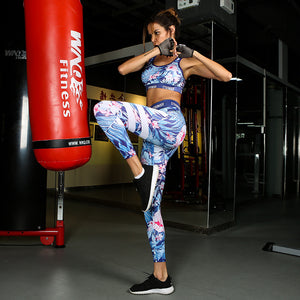 Women Fitness Workout Set: Blue Leafs Printed Tracksuit