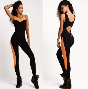 Women Backless Fitness Bodycon Bodysuit and Romper Female Summer Active Wear