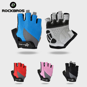 RockBros: Non-Slip Breathable Mountain Bike Gloves:  Gel Pad Short Half Finger Sport Gloves